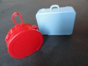 Vintage Barbie 1960's Miniature Doll Luggage Plastic Red Hat Box By Mattel