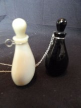 Vtg Halston Perfume Bottles Pendants Design Elsa Peretti Black White Glass Chain