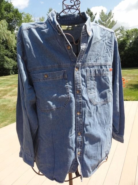 Men's JEEP Denim Button Down Shirt JEEP Since 1941 L 100% Cotton NWOT