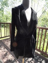 Vintage  Black Velvet Pins & Needles Jacket Blazer Size Small Front Belt Tie Mod
