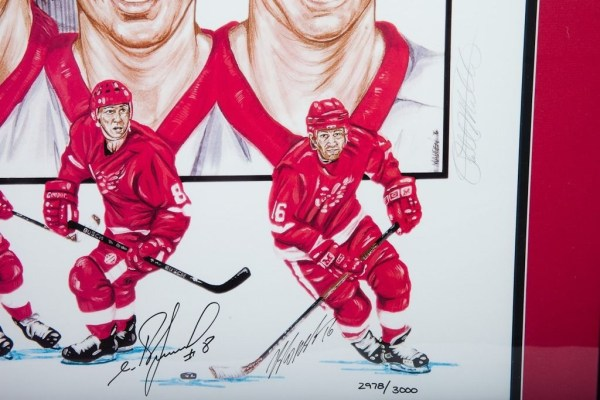 Detroit Red Wings Russian Five Signed Lithograph 2978/3000 Framed Dbl Mat COA
