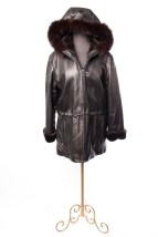 Women's MARC NEW YORK Andrew Marc Leather Coat Hood Black Faux Fur M Preowned