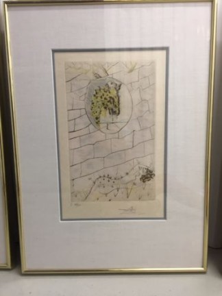 """Salvador Dali 1971 """"The Beloved Looks Forth"""" Song of Songs of Solomon Suite COA"""