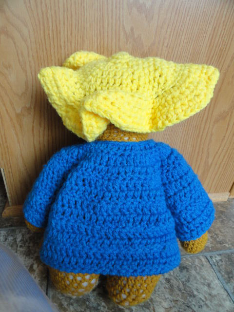 Vintage Hand Crocheted Paddington Bear 16 Please Take Care Of This