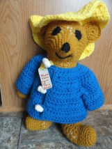"Vintage Hand Crocheted Paddington Bear 16"" Please Take Care Of This Bear Ex Con"