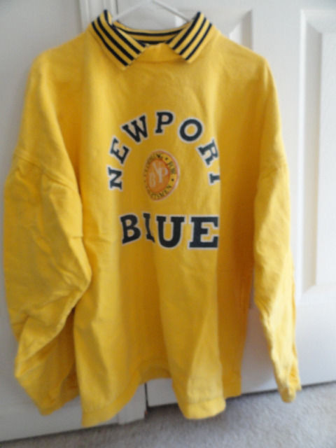 "Men's Newport Blue Yellow Blue Pull Over Shirt ""Clothing For Yachtsmen"" Preowned"