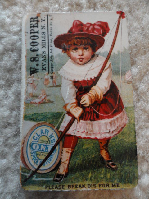 Collectible Magnet Victorian Girl with Archer Bow W S Cooper Evan Mills NY New