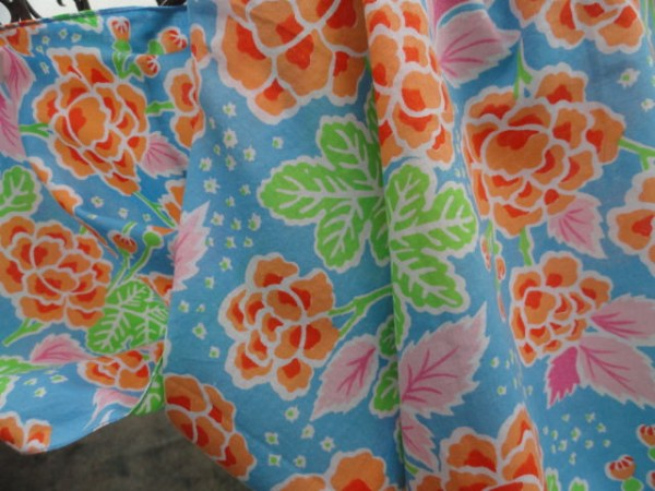 Vintage 1960's Siamese Trader Floral Scarf 100% Cotton Made In Thailand Handmade