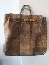 """Vtg 1970's SIMA PATICA Genuine Leather Gold Tone Luggage Made In Argentina 26"""""""