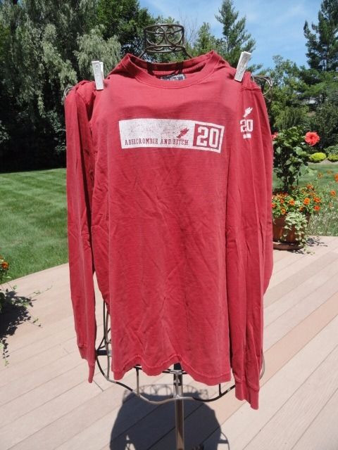 """ABERCROMBIE & FITCH Red Long Sleeve Shirt """"20"""" 100% Cotton  Boy's XL Preowned"""