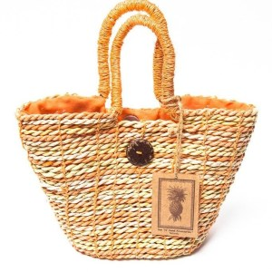 Sun N Sand Hand Made Straw Handbag Purse Orange Yellow Beige Lined NWT