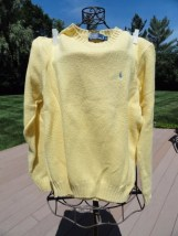 Polo by Ralph Lauren Yellow Crewneck 100% Cotton Sweater Blue Logo Preowned