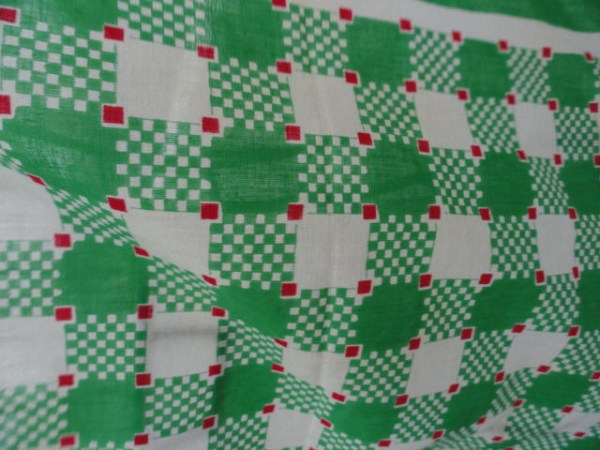 "Vintage 1960's Green White Red Check Square Pattern Scarf 100% Cotton 18""x18"""