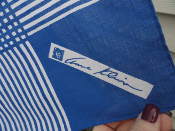 "Vintage 1970's Anne Klein Scarf Blue White Stripe 100% Cotton 20""x19"""