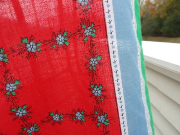 Vintage 1970's Anne Klein Floral Pattern Scarf Red Blue Green 100% Cotton