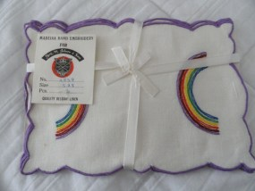 Vtg Rainbow Cocktail Napkins 6 Linen Madiera Hand Embroidered Belgian Linen