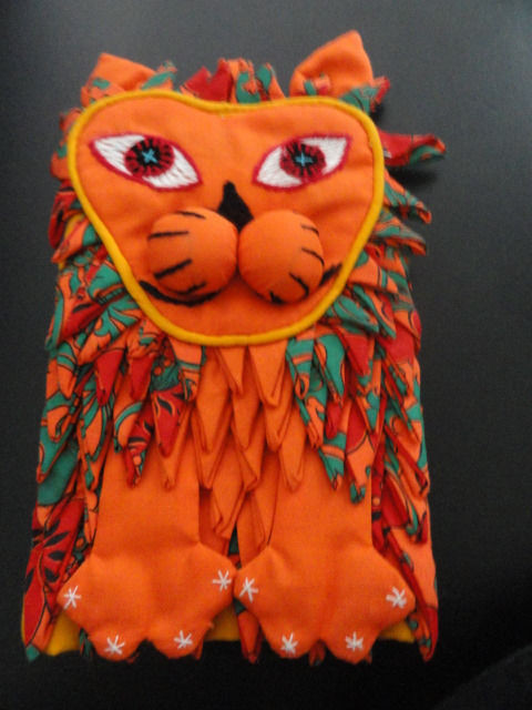 """Vtg 1970's Handmade Tiger Pot Holder Mexico NEW One of a Kind Charming 10""""x6"""""""