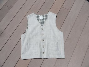 Old Navy 100% Beige Linen Men's Vest Large Lined In Green White Plaid NWOT
