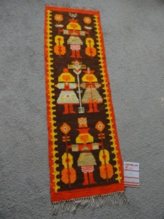 Vtg 70's Polish Kilim Rug Weaving CEPELIA Oringinal Tag Poland Girls Tapestry
