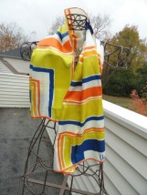 Vintage 1960's Scarves by VERA Stripe Scarf Blue Orange Yellow Made in Japan
