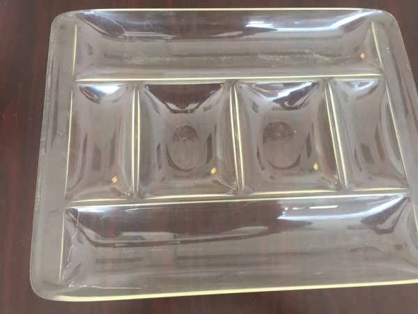 Vtg Mid Century Lucite 6 Section Serving Tray 19 x 15 x 2 Excellent Condition