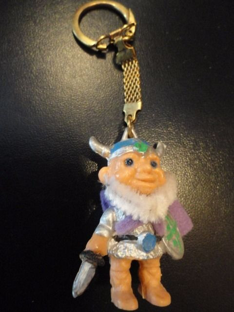 "Vtg 1974 Reisler Viking Figurine Keychain Made In Denmark 2"" Gold Tone Closure"