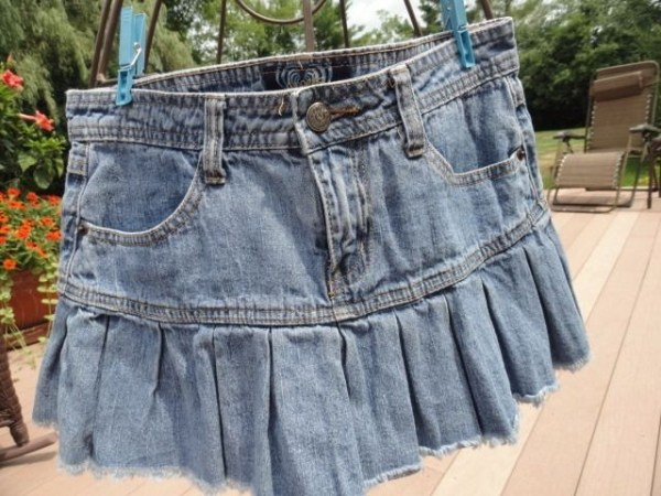 Women's Angels Jean Pleated Bottom Skirt Front Zipper Belt Loops Size 7 NWOT
