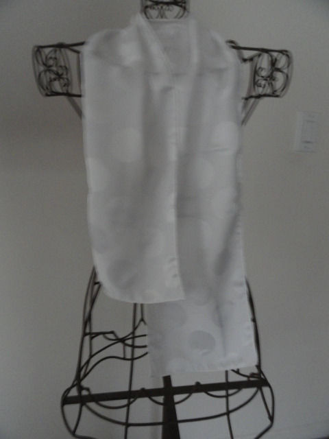 Vintage White on White Circle 100% Polyester Scarf Made in Japan 51x7.5 RN 15719