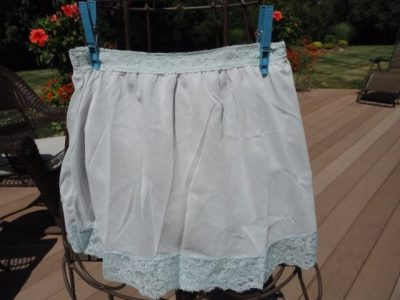 Vintage 1960's Hippie Flower Power Pettipants Slip Nylon XS Lite Blue With Lace