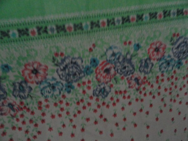 Vintage Green Blue Pink Floral Pattern 100% Cotton Scarf Wrap 33x31