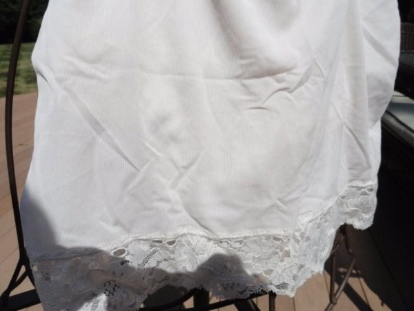 Vintage 1960's Hippie Flower Power Pettipants Slip Nylon XS White With Lace