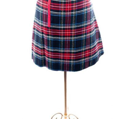 Vintage 1960's Women's Wrap Around Reversable Plaid Red Skirt L 100% Wool