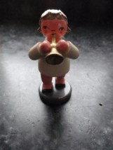 Vtg Christmas Wooden Angel Orchestra Angel Christmas Playing The Trumpet Germany