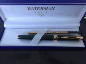 Vintage Waterman Green Laquer Gold Trim Rollerball Pen Fine Made In France NIB