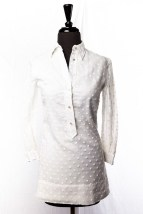 Vintage 1960's Girl's Girl Town White Shirt Dress Size 8 Pearl Buttons Preowned