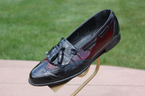 Men's Johnston & Murphy Black & Cordovan Loafer With Tassel Size 8 Pre-Owned