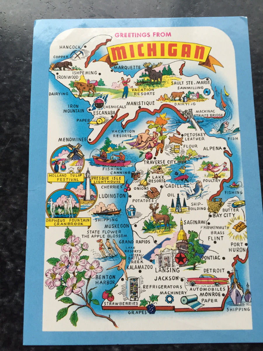 Vtg postcard uncirculated unposted greetings from michigan the vtg postcard uncirculated unposted greetings from michigan the wolverine state m4hsunfo