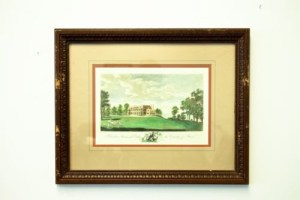 "Vtg Engraving W. Angus ""Belvidere House"" Near Erith In The County Kent UK Framed"