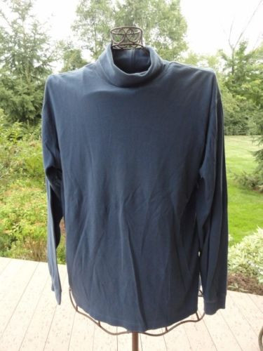 Unisex L. L. Bean Blue Turtleneck Long Sleeve Shirt Regular L Preown Great Cond