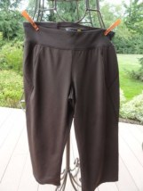 Women's Tek Gear Yoga Brown Pants Preown XS Mid Calf Zipper In Back Excellent