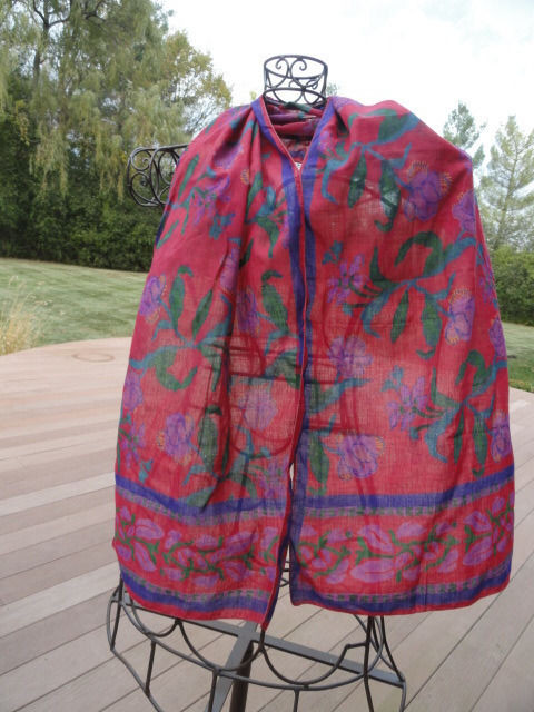 Vintage 1970's Scarf Hand Dyed Floral Iris Pattern Red Purples Green Timeless