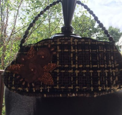 JESSICA McCLINTOCK Evening Purse Brown Biege Plaid Sequin Flowered Beaded Handle