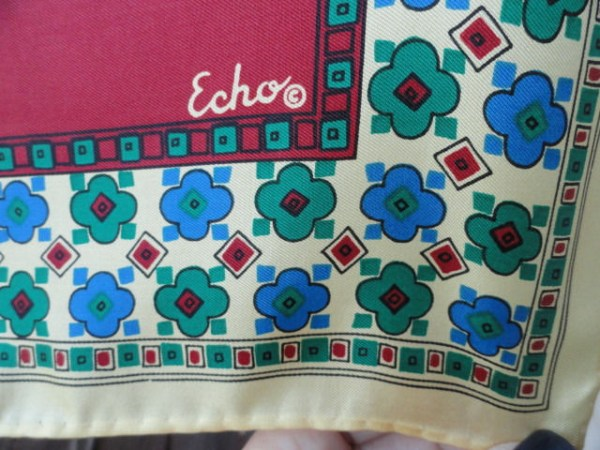 Vintage 1970's ECHO 70% CHINON AZLON 30% Silk Scarf Maroon Blues Yellow Floral