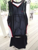 Girl's Nike DRI-FIT Tennis Outfit Top XL Skirt Skort L Navy Pink White NWOT