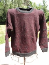 Christian Dior Maroon Black Sweater Geomeitric Motif 100% Wool Hong Kong Large