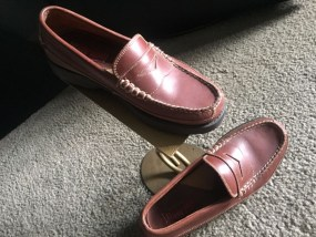 Men's Bass Flex Slip On Leather Loafer Cordovan Size 8M 10/30 TRADER Great Cond