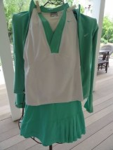 Women NIKE 3 Piece Tennis Set Jacket XS Top S Skort XS Turquoise White Ex Cond