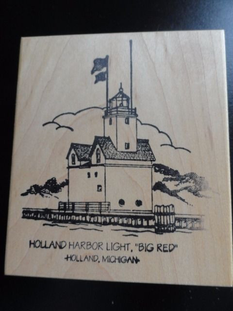 """HOLLAND HARBOR LIGHTHOUSE """"BIG RED"""" Michigan Rubber Ink Stamp Embossing New"""