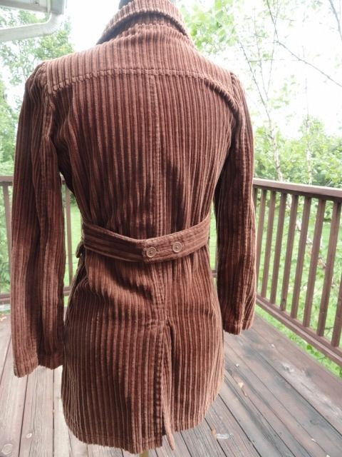 Girl's CHEROKEE Brown Thick Corduroy Mid Calf Jacket Coat Size L 10/12 Ex Cond