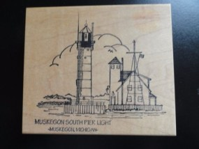 MUSKEGON SOUTH PIER LIGHTHOUSE Michigan Rubber Ink Stamp Embossing New
